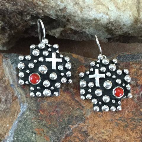 Traditional Coral & Spot / Cross Sterling Silver Earrings by Akee Douglas
