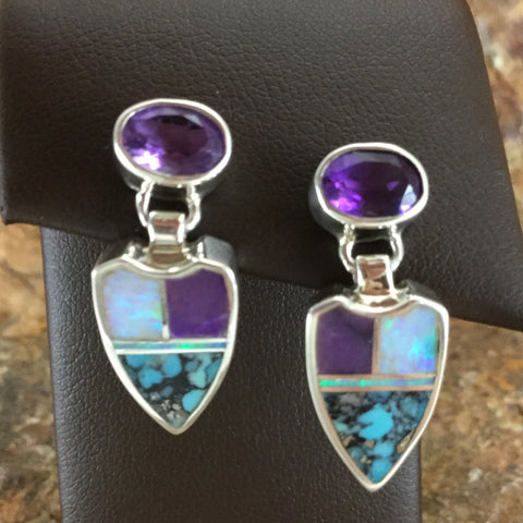 David Rosales Shalako Inlaid Sterling Silver Earrings w/ Amethyst