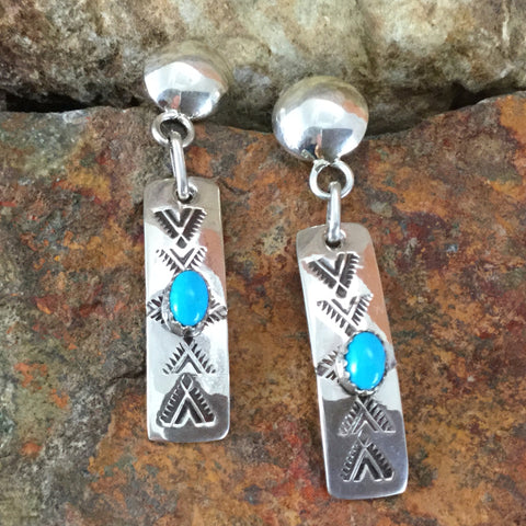 Sleeping Beauty Turquoise & Sterling Silver Earrings by Isabell Bia