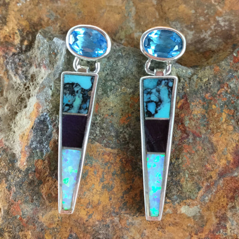 David Rosales Shalako Inlaid Sterling Silver Earrings w/ Blue Topaz