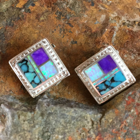 David Rosales Shalako Inlaid Sterling Silver Earrings Clip