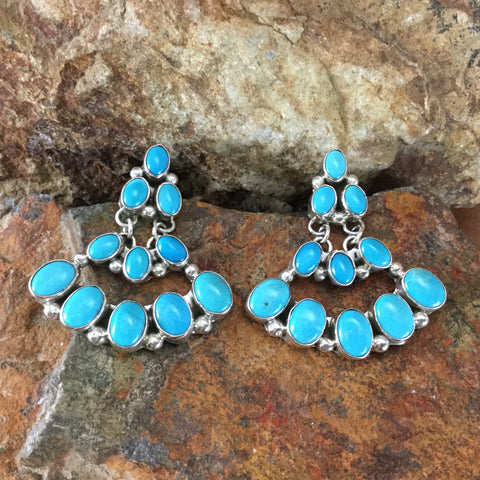Sleeping Beauty Turquoise Sterling Silver Earrings by Lea Cleveland