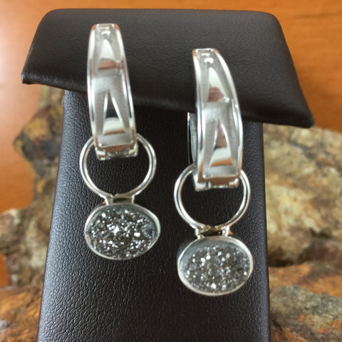 David Rosales Silver Country Sterling Silver and Round Druzy Earrings