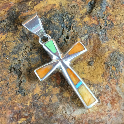 David Rosales Sunrise Inlaid Sterling Silver Pendant Cross