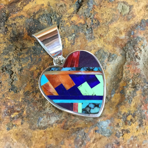 David Rosales Indian Summer Fancy Inlaid Sterling Silver Pendant Heart