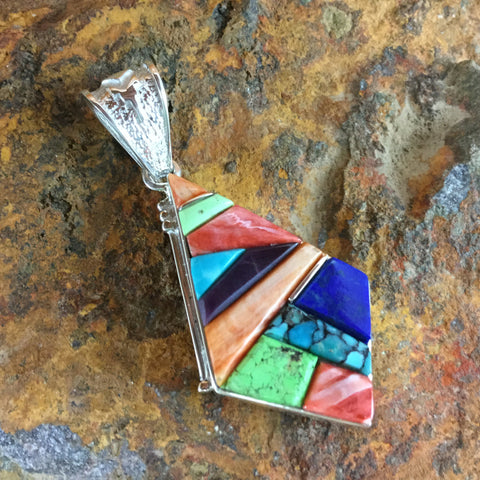 David Rosales Indian Summer Cobble Inlaid Sterling Silver Pendant