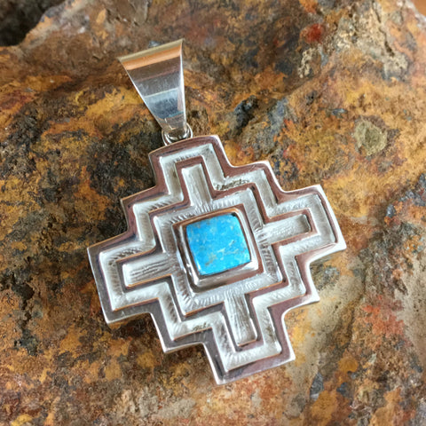 David Rosales Gaspiete Inlaid Sterling Silver Pendant Two-Sided Cross