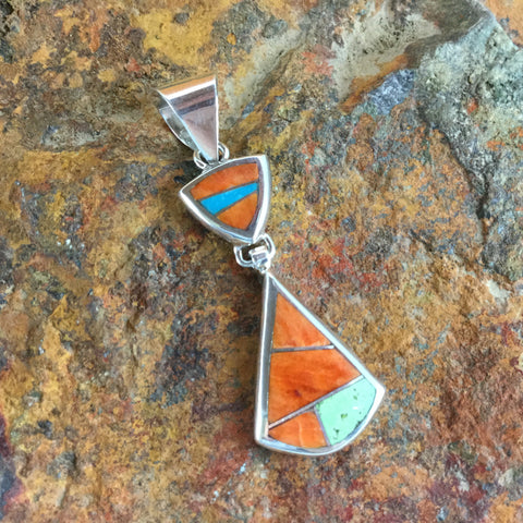 David Rosales Sunrise Inlaid Sterling Silver Pendant