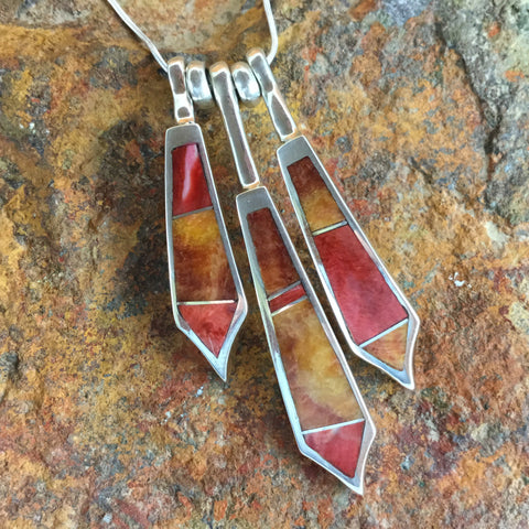 David Rosales Desert Fire Inlaid Sterling Silver Necklace
