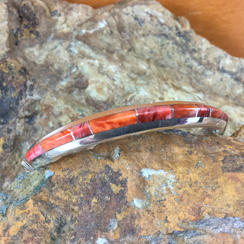David Rosales Desert Fire Inlaid Sterling Silver Bracelet