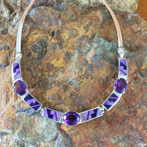 David Rosales Plum Crazy Inlaid Sterling Silver Necklace w/ Amethyst