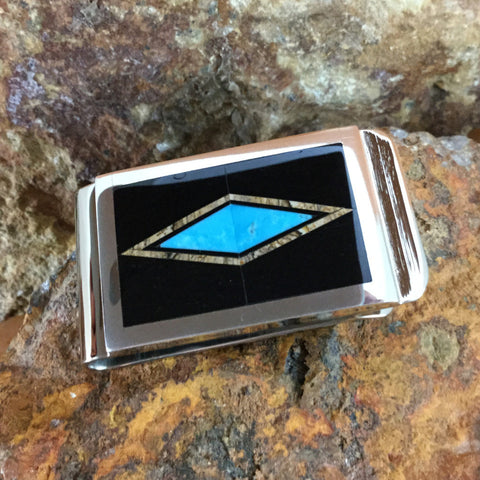 David Rosales Turquoise Creek Inlaid Sterling Silver Money Clip Diamond