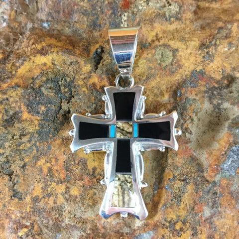 David Rosales Turquoise Creek Inlaid Sterling Silver Pendant Cross