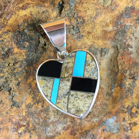 David Rosales Turquoise Creek Inlaid Sterling Silver Pendant Heart