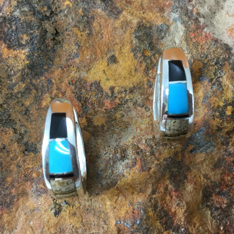 David Rosales Turquoise Creek Inlaid Sterling Silver Earrings