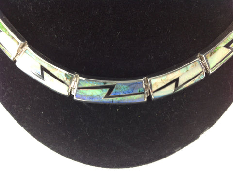 Inlaid Sterling Silver Lightning Opal Necklace