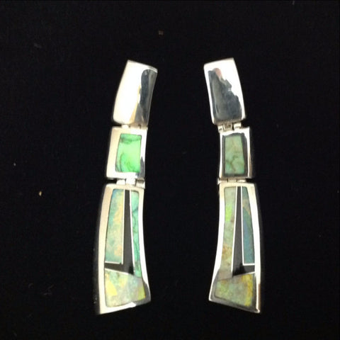 Inlaid Sterling Silver Lightning Opal Earrings