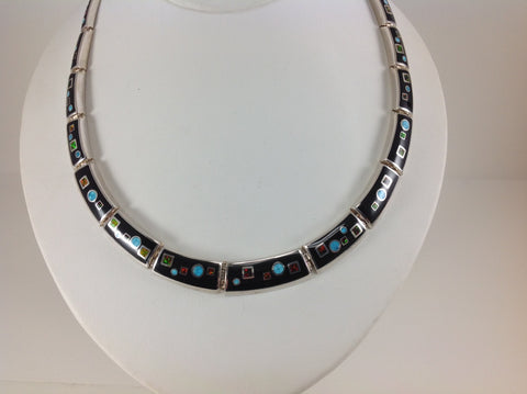 Inlaid Sterling Silver Black Jade and Opal Necklace