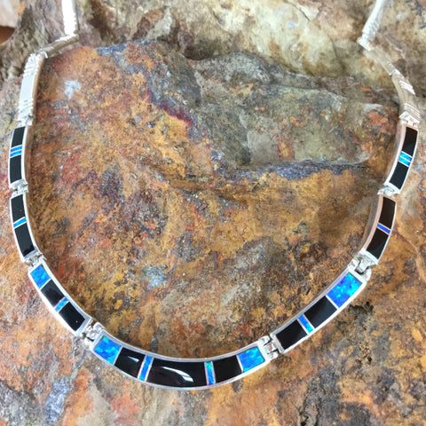 David Rosales Black Beauty Fancy Inlay Sterling Silver Necklace
