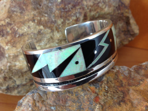 Inlaid Sterling Silver Black Jade and Opal Cuff Bracelet