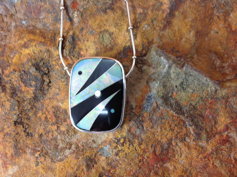 Inlaid Sterling Silver Black Jade and Opal Pendant