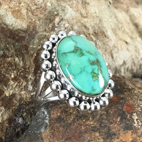 Sonoran Gold Turquoise Sterling Silver Ring by Artie Yellowhorse Size 8