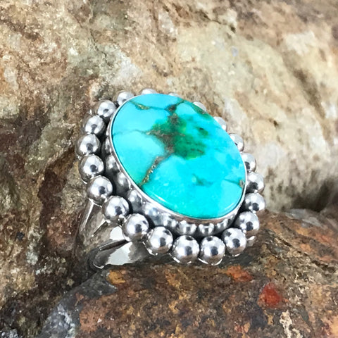 Sonoran Gold Turquoise Sterling Silver Ring by Artie Yelowhorse Size 7