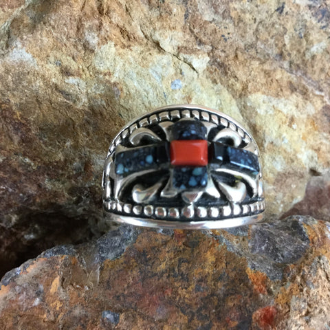 David Rosales Landers & Coral Inlaid Sterling Silver Ring