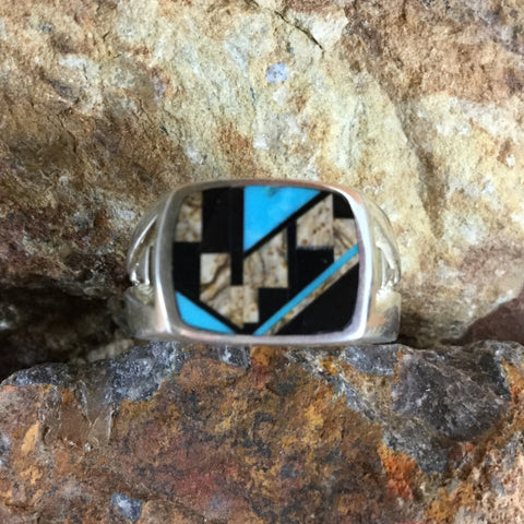 David Rosales Turquoise Creek Fancy Inlaid Sterling Silver Ring