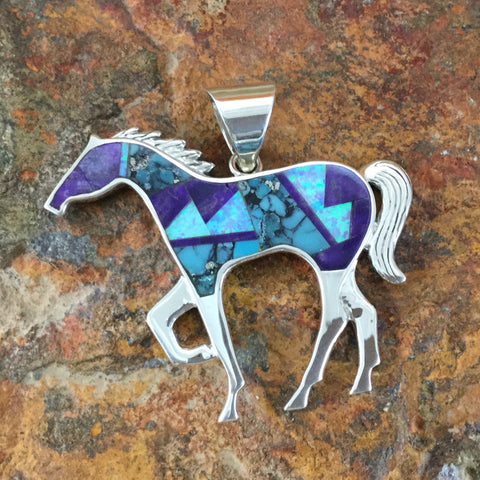 David Rosales Shalako Fancy Inlaid Sterling Silver Pendant Horse