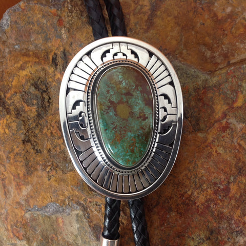 Royston Turquoise Sterling Silver Bolo by Leonard Nez