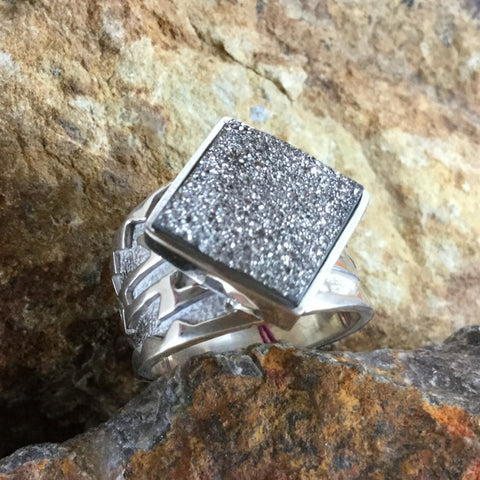 David Rosales Silver Country Square Druzy Sterling Silver Ring