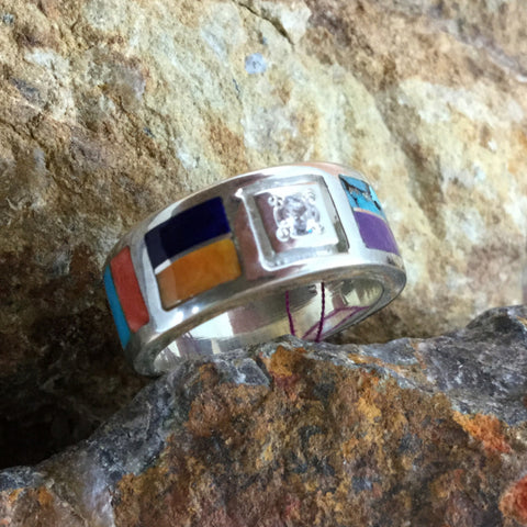 David Rosales Indian Summer Inlaid Sterling Silver Ring