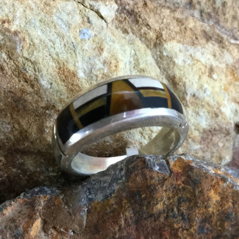 David Rosales Kayenta Fancy Inlaid Sterling Silver Ring