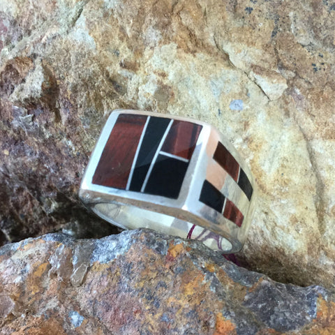 David Rosales Black Tiger Inlaid Sterling Silver Ring