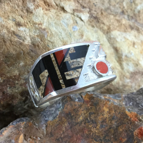 David Rosales Fire Creek Inlaid Sterling Silver Ring