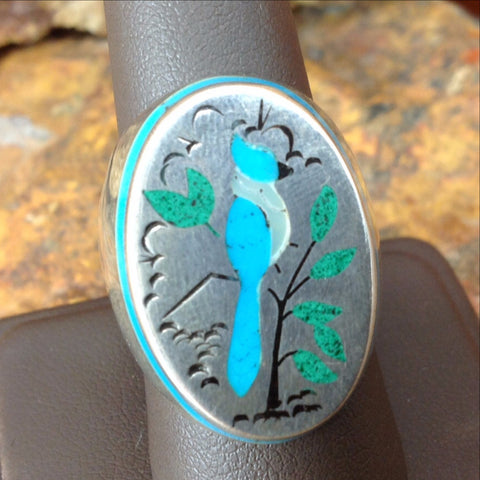 Blue Jay Ring - Sterling Silver - Estate Jewelry