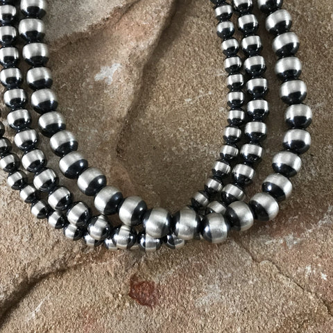 "22"" Triple Strand Oxidized Sterling Silver Beaded Necklace 4 - 6 mm"