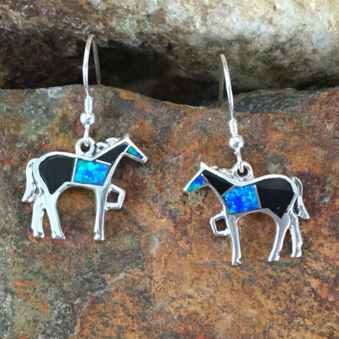 David Rosales Black Beauty Inlaid Sterling Silver Earrings Horse