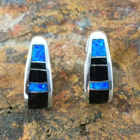 David Rosales Black Beauty Inlaid Sterling Silver Earrings Huggie