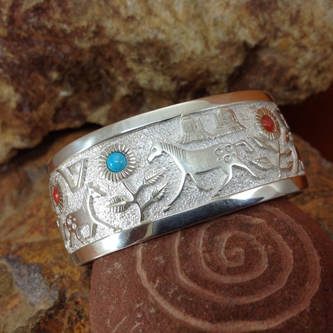 Sterling Silver Horse Bracelet w/ Turquoise & Red Coral by Philbert Begay