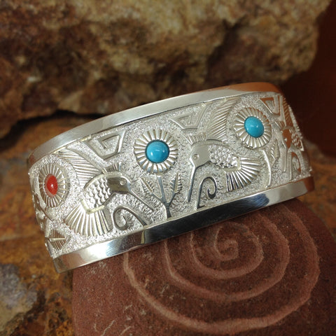 Sterling Silver Hummingbird Bracelet w/ Turquoise & Red Coral by Philbert Begay