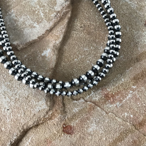 "18"" Triple Strand Oxidized Sterling Silver Beaded Necklace 5 - 7 mm"
