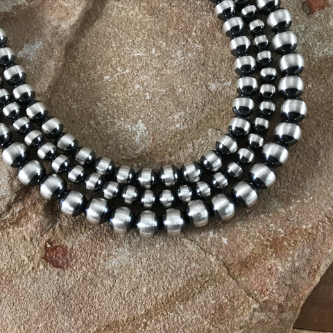 "24"" Triple Strand Oxidized Sterling Silver Beaded Necklace 5 - 7 mm"