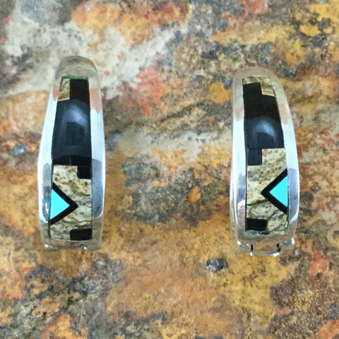 David Rosales Turquoise Creek Inlaid Sterling Silver Earrings Huggie