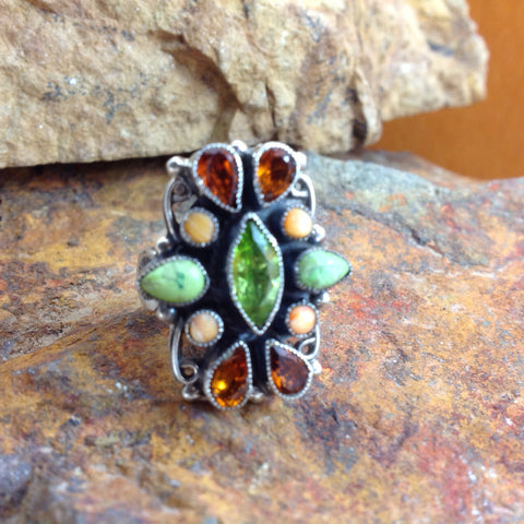 Leo Feeney Gaspeite & Peridot Sterling Silver Ring
