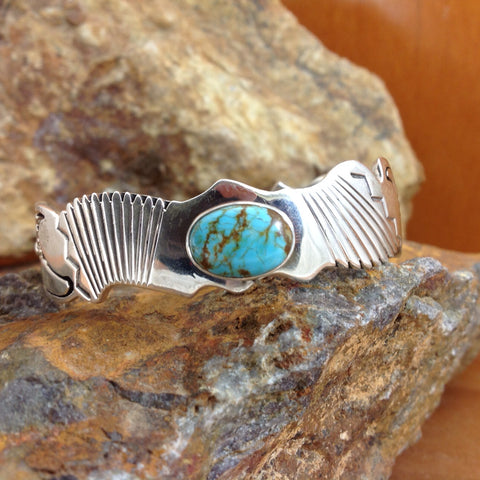 Carico Lake Turquoise Sterling Silver Cuff Bracelet
