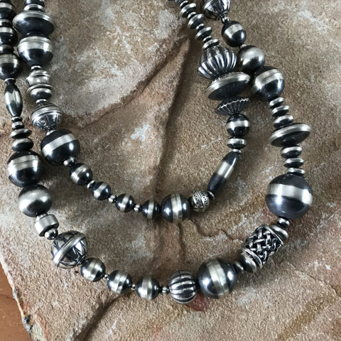 "36"" Single Strand Oxidized Sterling Silver Beaded Necklace 3 - 14 mm"