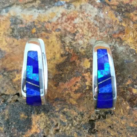 David Rosales Blue Sky Fancy Inlaid Sterling Silver Earrings Huggies