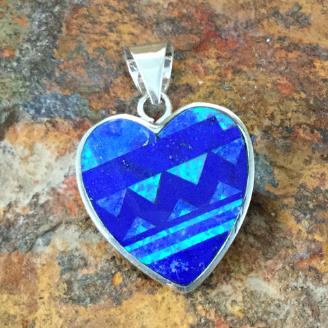 David Rosales Blue Sky Fancy Inlaid Sterling Silver Pendant Heart